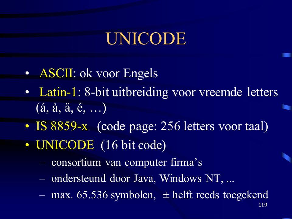 119 UNICODE ASCII: ok voor Engels Latin-1: 8-bit uitbreiding voor vreemde letters (á, à, ä, é, …) IS 8859-x (code page: 256 letters voor taal) UNICODE