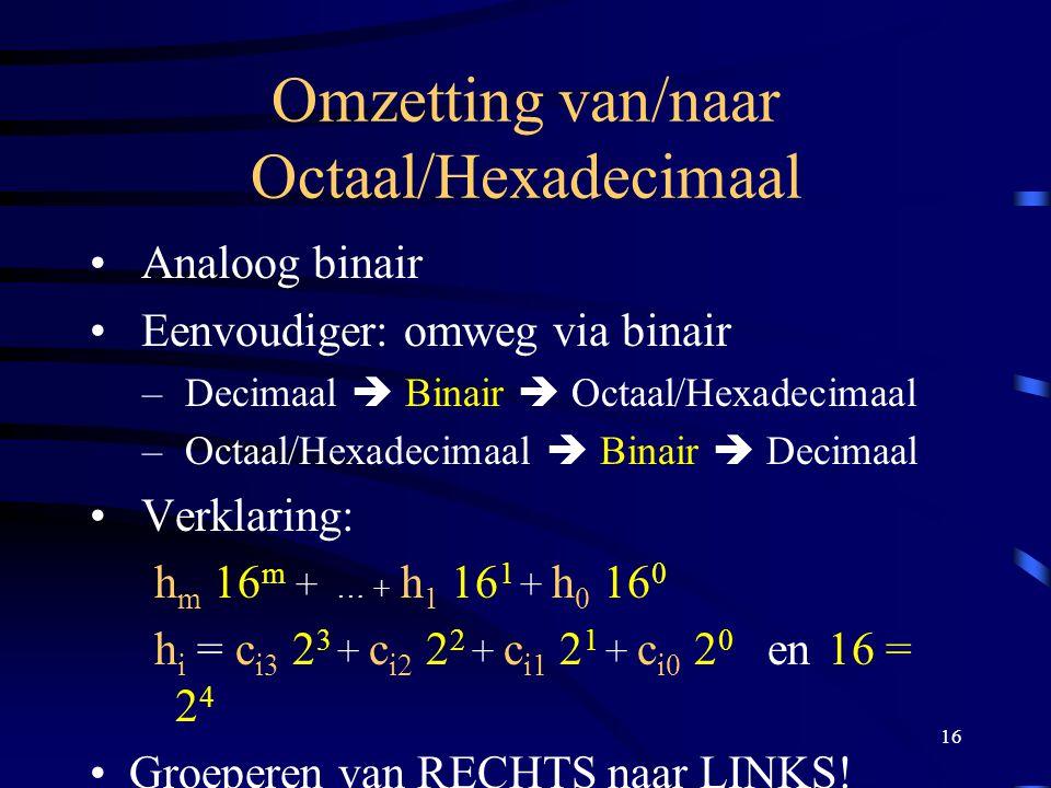 16 Omzetting van/naar Octaal/Hexadecimaal Analoog binair Eenvoudiger: omweg via binair – Decimaal  Binair  Octaal/Hexadecimaal – Octaal/Hexadecimaal
