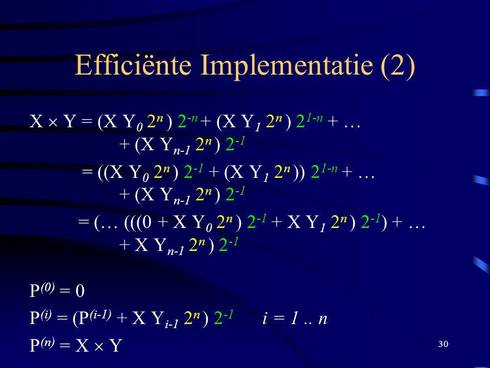 30 Efficiënte Implementatie (2) X  Y = (X Y 0 2 n ) 2 -n + (X Y 1 2 n ) 2 1-n + … + (X Y n-1 2 n ) 2 -1 = ((X Y 0 2 n ) 2 -1 + (X Y 1 2 n )) 2 1-n +