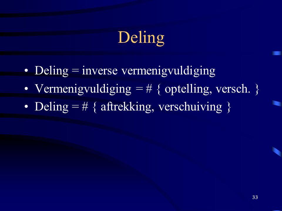 33 Deling Deling = inverse vermenigvuldiging Vermenigvuldiging = # { optelling, versch. } Deling = # { aftrekking, verschuiving }
