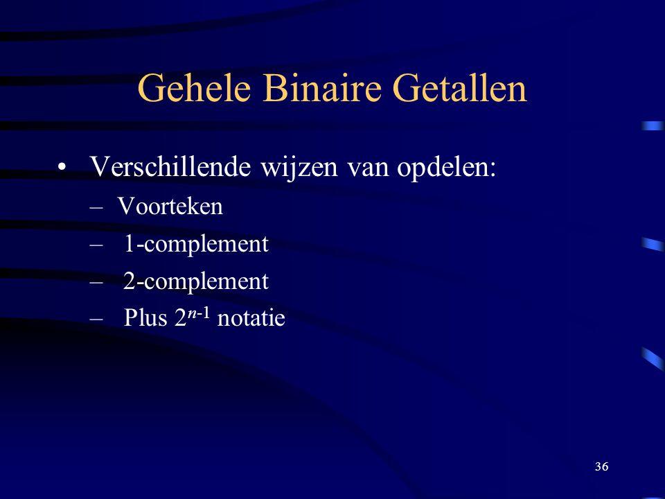 36 Gehele Binaire Getallen Verschillende wijzen van opdelen: – Voorteken – 1-complement – 2-complement – Plus 2 n-1 notatie