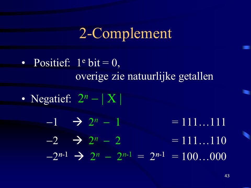 43 2-Complement Positief: 1 e bit = 0, overige zie natuurlijke getallen Negatief: 2 n  | X |  1  2 n  1 = 111…111  2  2 n  2 = 111…110  2 n-1