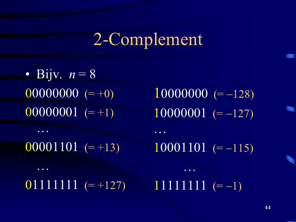 44 2-Complement Bijv. n = 8 00000000 (= +0) 00000001 (= +1) … 00001101 (= +13) … 01111111 (= +127) 1 0000000 (=  128) 10000001 (=  127) … 10001101 (