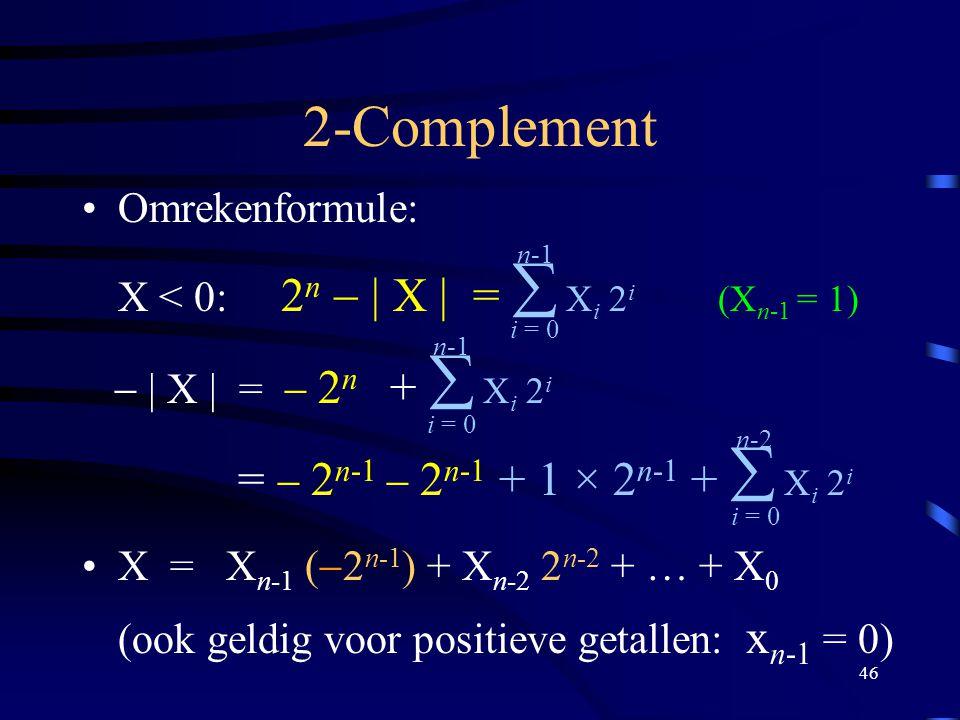 46 2-Complement Omrekenformule: X < 0: 2 n  | X | =  X i 2 i (X n-1 = 1)  | X | =  2 n +  X i 2 i =  2 n-1  2 n-1 + 1 × 2 n-1 +  X i 2 i X = X