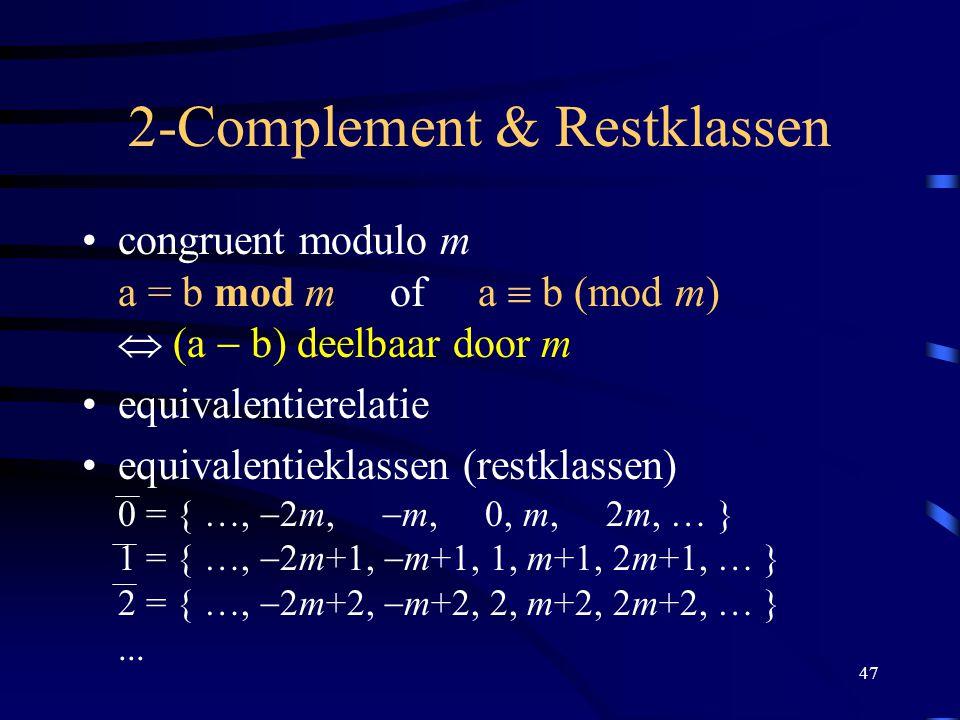 47 2-Complement & Restklassen congruent modulo m a = b mod m of a  b (mod m)  (a  b) deelbaar door m equivalentierelatie equivalentieklassen (rest