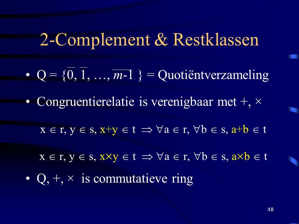 48 2-Complement & Restklassen Q = {0, 1, …, m-1 } = Quotiëntverzameling Congruentierelatie is verenigbaar met +, × x  r, y  s, x+y  t   a  r, 