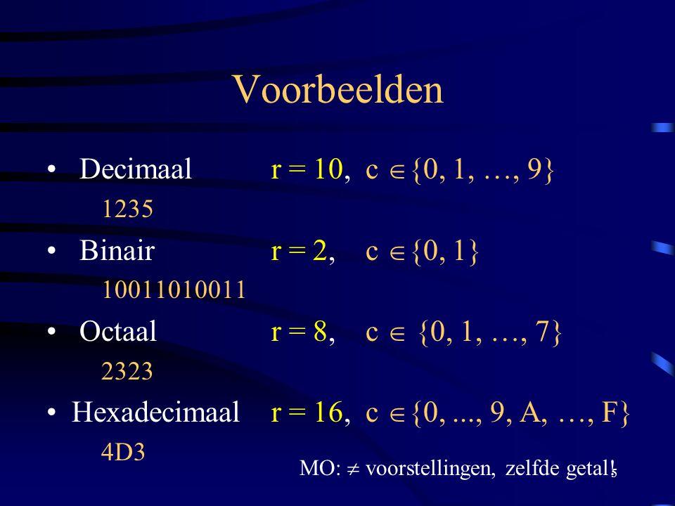 5 Voorbeelden Decimaal r = 10, c  {0, 1, …, 9} 1235 Binair r = 2, c  {0, 1} 10011010011 Octaalr = 8, c  {0, 1, …, 7} 2323 Hexadecimaal r = 16, c 