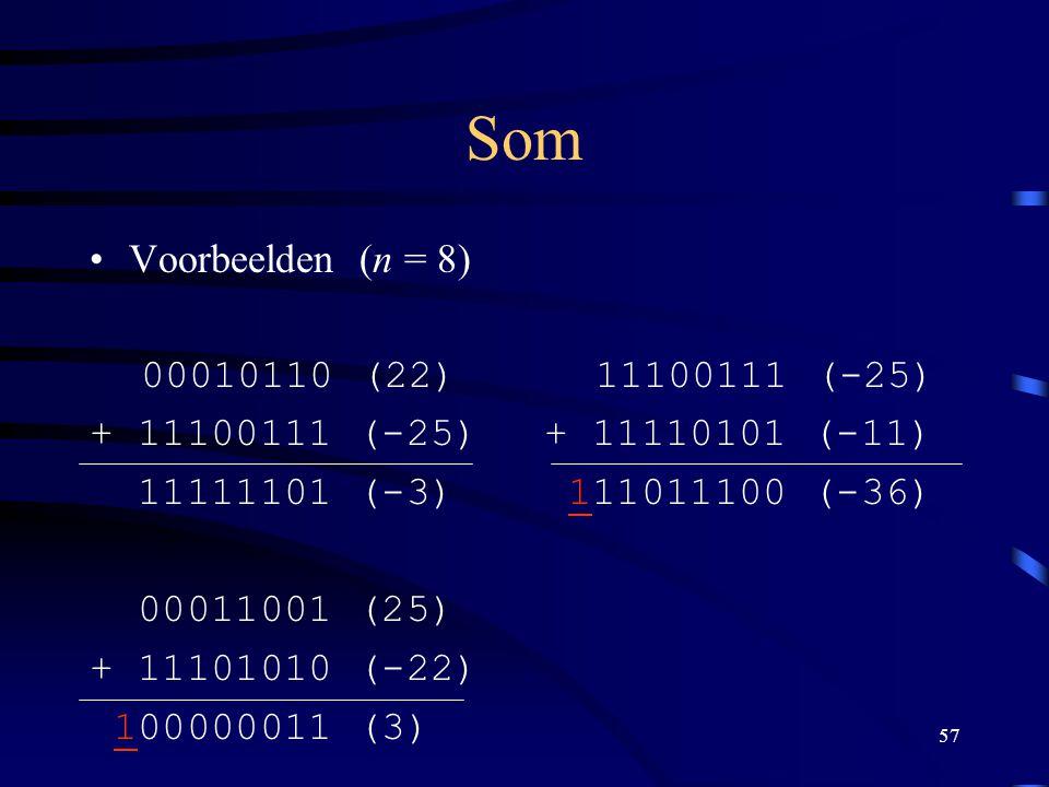 57 Som Voorbeelden (n = 8) 00010110 (22) + 11100111 (-25) 11111101 (-3) 00011001 (25) + 11101010 (-22) 100000011 (3) 11100111 (-25) + 11110101 (-11) 1