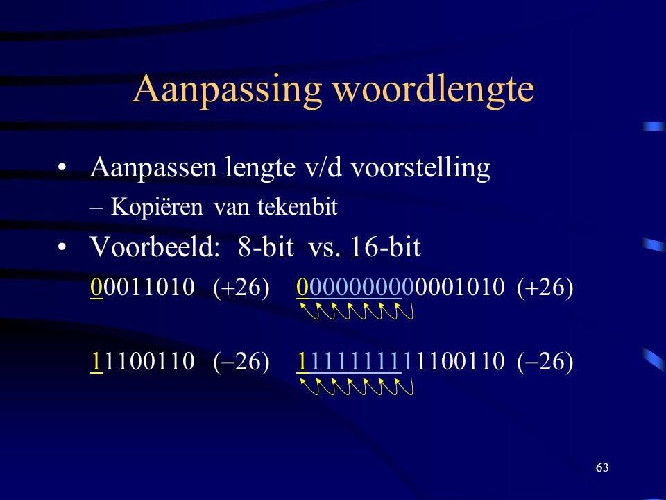 63 Aanpassing woordlengte Aanpassen lengte v/d voorstelling –Kopiëren van tekenbit Voorbeeld: 8-bit vs. 16-bit 00011010 (  26) 0000000000001010 (  2