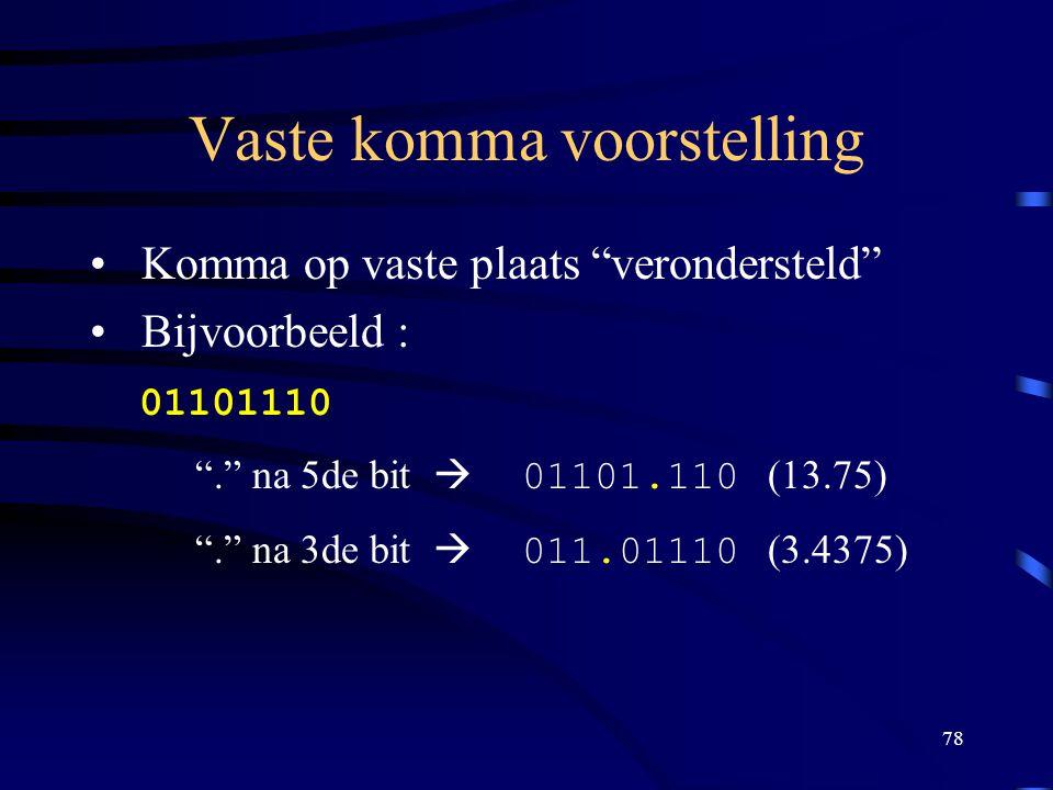 """78 Vaste komma voorstelling Komma op vaste plaats """"verondersteld"""" Bijvoorbeeld : 01101110 """"."""" na 5de bit  01101.110 (13.75) """"."""" na 3de bit  011.0111"""