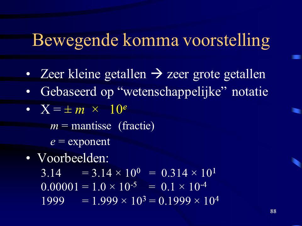 """88 Bewegende komma voorstelling Zeer kleine getallen  zeer grote getallen Gebaseerd op """"wetenschappelijke"""" notatie X = ± m × 10 e m = mantisse (fract"""