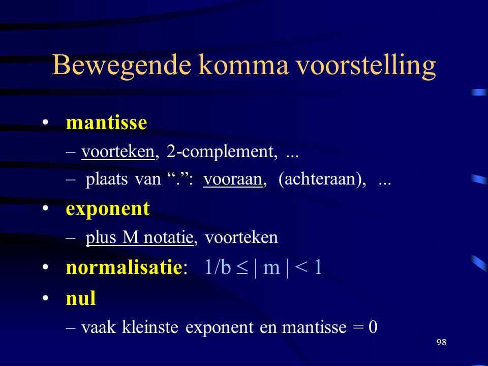 """98 Bewegende komma voorstelling mantisse –voorteken, 2-complement,... – plaats van """"."""": vooraan, (achteraan),... exponent – plus M notatie, voorteken"""