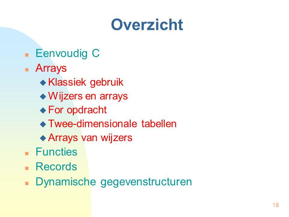 18 Overzicht Eenvoudig C Arrays  Klassiek gebruik  Wijzers en arrays  For opdracht  Twee-dimensionale tabellen  Arrays van wijzers Functies Records Dynamische gegevenstructuren