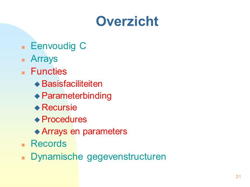 31 Overzicht Eenvoudig C Arrays Functies  Basisfaciliteiten  Parameterbinding  Recursie  Procedures  Arrays en parameters Records Dynamische gegevenstructuren