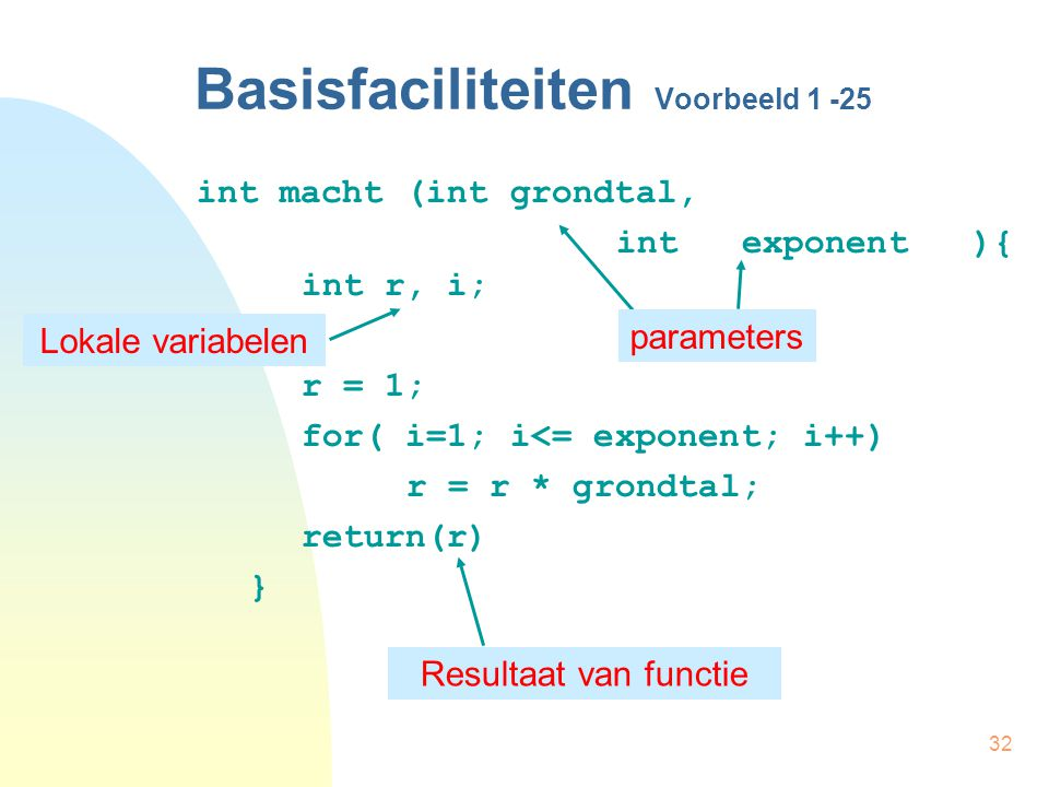 32 int macht (int grondtal, int exponent ){ int r, i; r = 1; for( i=1; i<= exponent; i++) r = r * grondtal; return(r) } Basisfaciliteiten Voorbeeld 1 -25 parameters Lokale variabelen Resultaat van functie