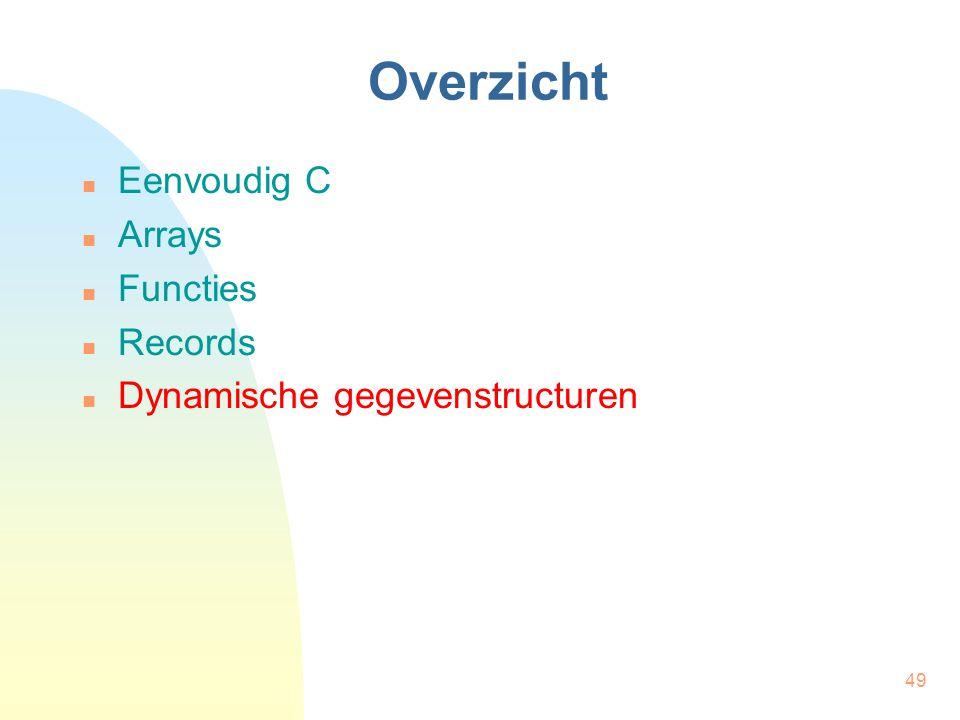 49 Overzicht Eenvoudig C Arrays Functies Records Dynamische gegevenstructuren
