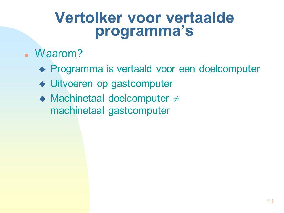 11 Vertolker voor vertaalde programma's Waarom?  Programma is vertaald voor een doelcomputer  Uitvoeren op gastcomputer  Machinetaal doelcomputer 