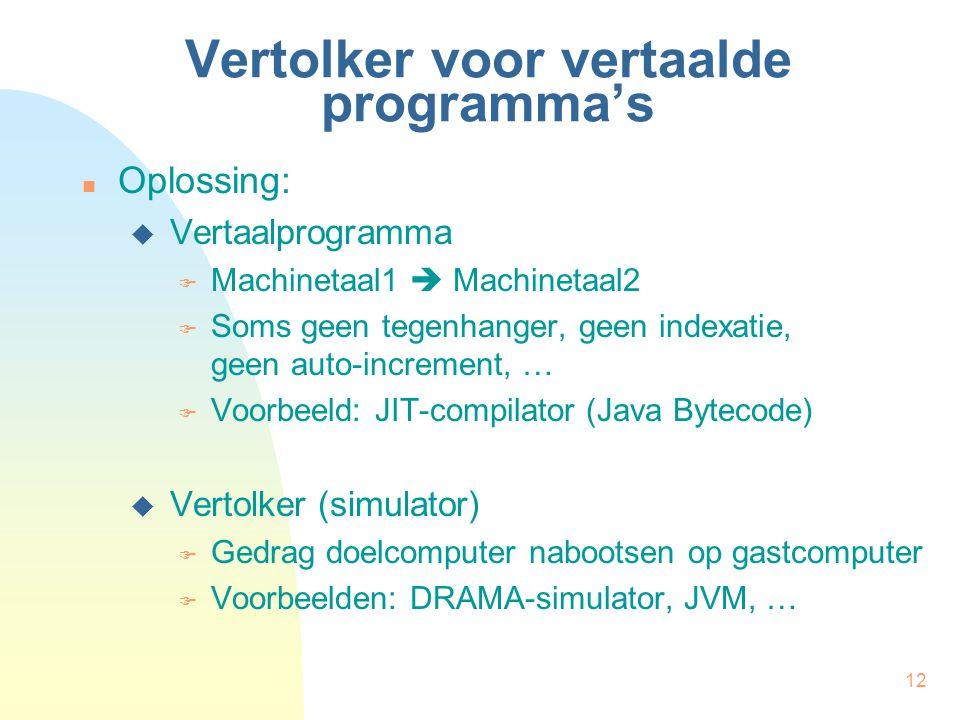 12 Vertolker voor vertaalde programma's Oplossing:  Vertaalprogramma  Machinetaal1  Machinetaal2  Soms geen tegenhanger, geen indexatie, geen auto-increment, …  Voorbeeld: JIT-compilator (Java Bytecode)  Vertolker (simulator)  Gedrag doelcomputer nabootsen op gastcomputer  Voorbeelden: DRAMA-simulator, JVM, …