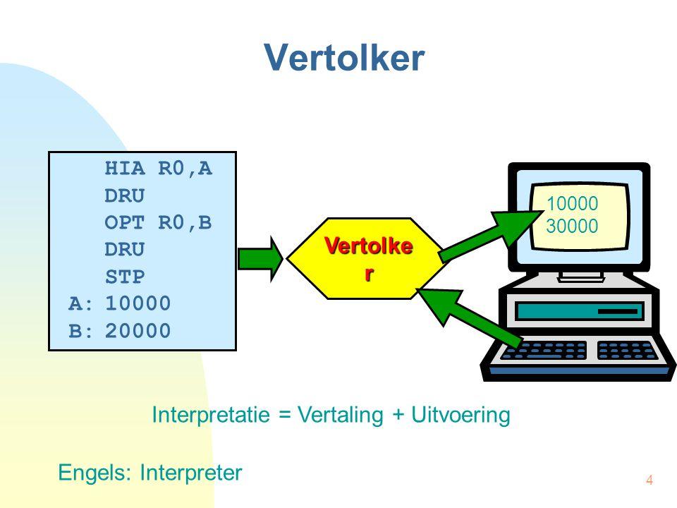 4 Vertolker HIA R0,A DRU OPT R0,B DRU STP A:10000 B:20000 Vertolke r 10000 30000 Engels: Interpreter Interpretatie = Vertaling + Uitvoering