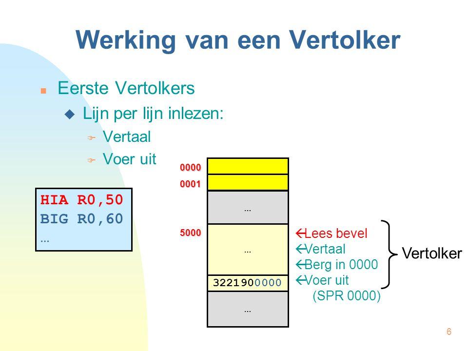 6 Werking van een Vertolker Eerste Vertolkers  Lijn per lijn inlezen:  Vertaal  Voer uit HIA R0,50 BIG R0,60 …  Lees bevel  Vertaal  Berg in 000