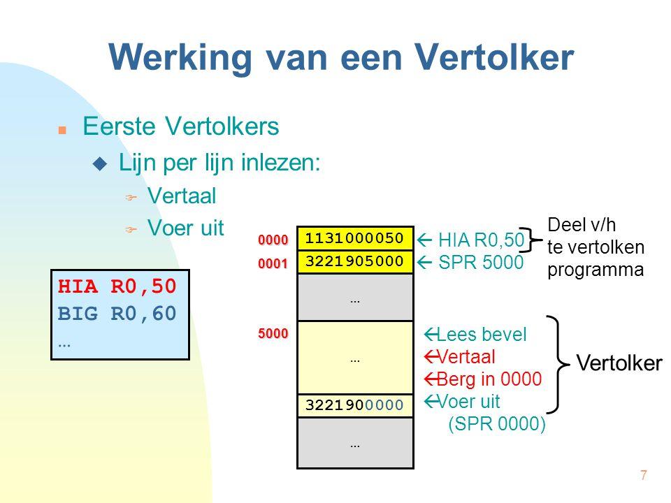 7 Werking van een Vertolker Eerste Vertolkers  Lijn per lijn inlezen:  Vertaal  Voer uit HIA R0,50 BIG R0,60 …  Lees bevel  Vertaal  Berg in 000