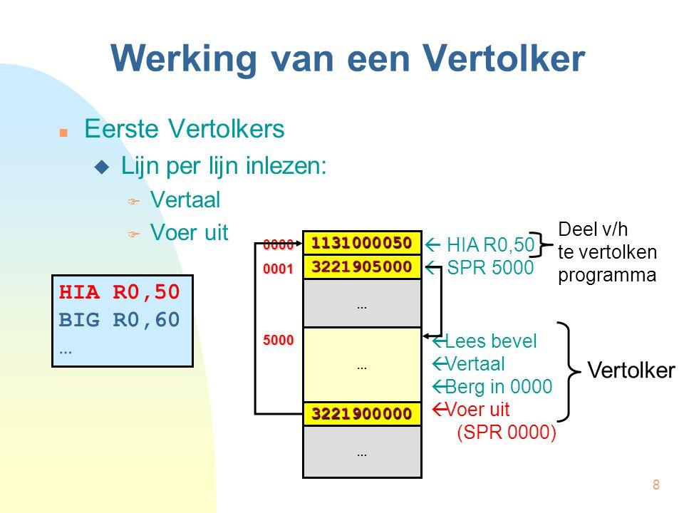 8 Werking van een Vertolker Eerste Vertolkers  Lijn per lijn inlezen:  Vertaal  Voer uit HIA R0,50 BIG R0,60 …  HIA R0,50  SPR 5000  Lees bevel