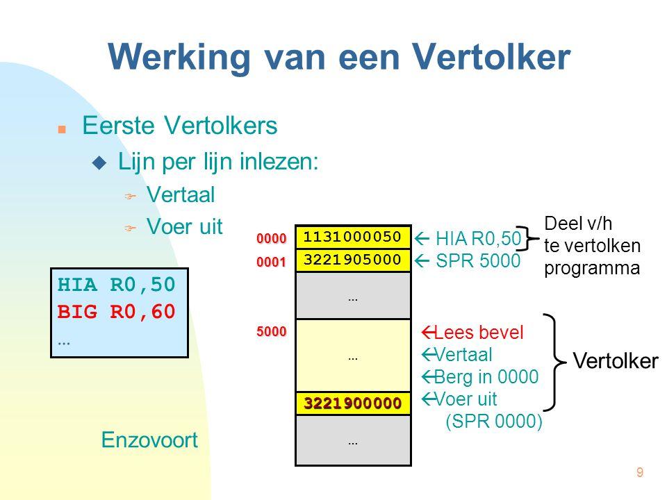 9 Werking van een Vertolker Eerste Vertolkers  Lijn per lijn inlezen:  Vertaal  Voer uit HIA R0,50 BIG R0,60 …  HIA R0,50  SPR 5000  Lees bevel