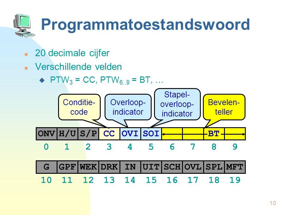 10 Programmatoestandswoord 20 decimale cijfer Verschillende velden  PTW 3 = CC, PTW 6..9 = BT, … H/US/PCCONVOVISOI BT GPFWEKDRKGINUITSCHOVLSPLMFT 012