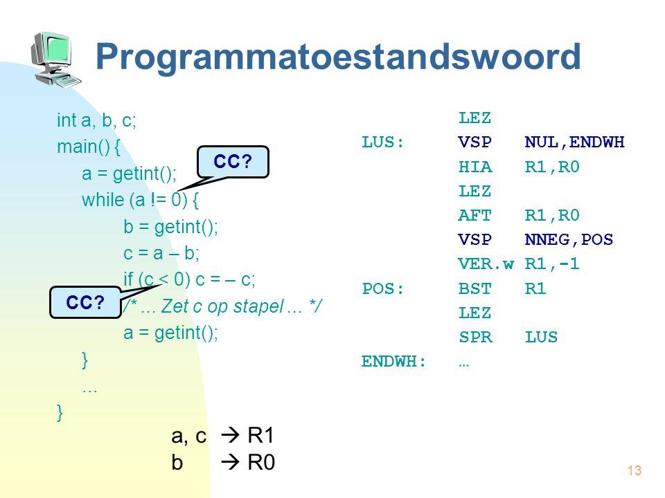 13 Programmatoestandswoord int a, b, c; main() { a = getint(); while (a != 0) { b = getint(); c = a – b; if (c < 0) c = – c; /*... Zet c op stapel...