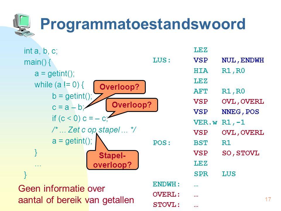 17 Programmatoestandswoord int a, b, c; main() { a = getint(); while (a != 0) { b = getint(); c = a – b; if (c < 0) c = – c; /*... Zet c op stapel...