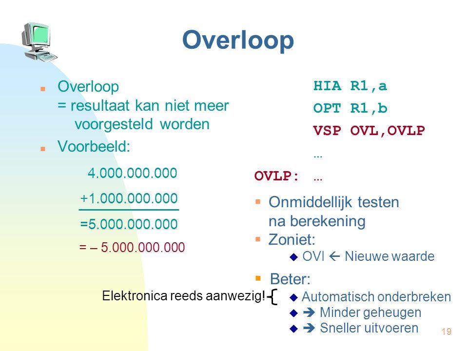 19 Overloop Overloop = resultaat kan niet meer voorgesteld worden Voorbeeld: HIA R1,a OPT R1,b VSP OVL,OVLP … OVLP:… 4.000.000.000 +1.000.000.000 =5.0