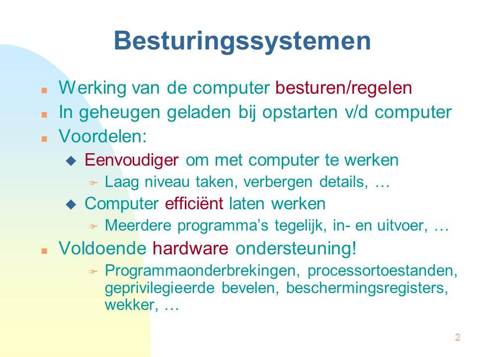 2 Werking van de computer besturen/regelen In geheugen geladen bij opstarten v/d computer Voordelen:  Eenvoudiger om met computer te werken  Laag ni