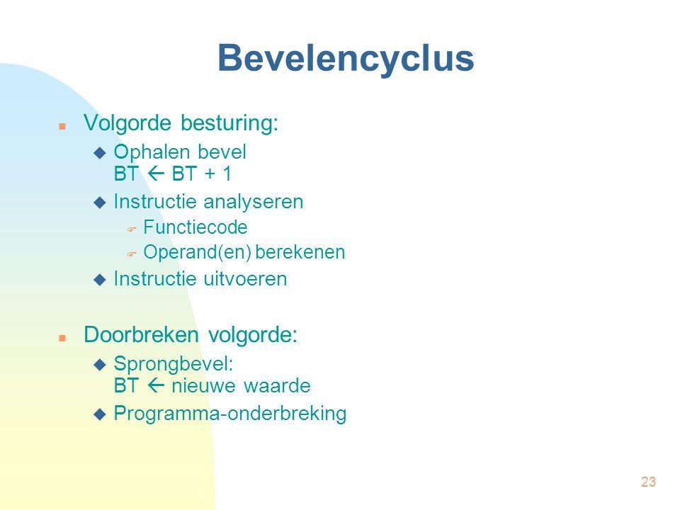 23 Bevelencyclus Volgorde besturing:  Ophalen bevel BT  BT + 1  Instructie analyseren  Functiecode  Operand(en) berekenen  Instructie uitvoeren