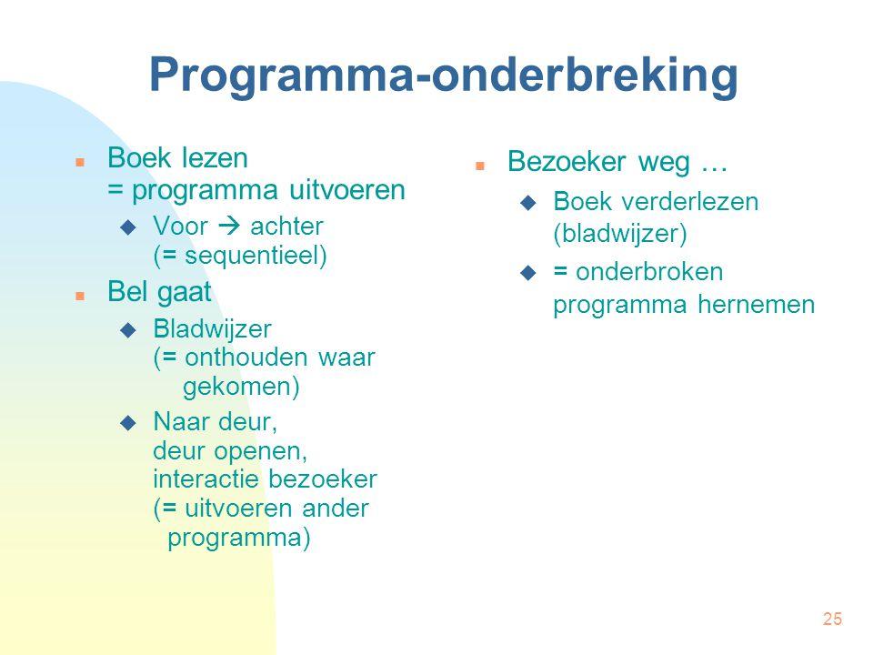 25 Programma-onderbreking Boek lezen = programma uitvoeren  Voor  achter (= sequentieel) Bel gaat  Bladwijzer (= onthouden waar gekomen)  Naar deu