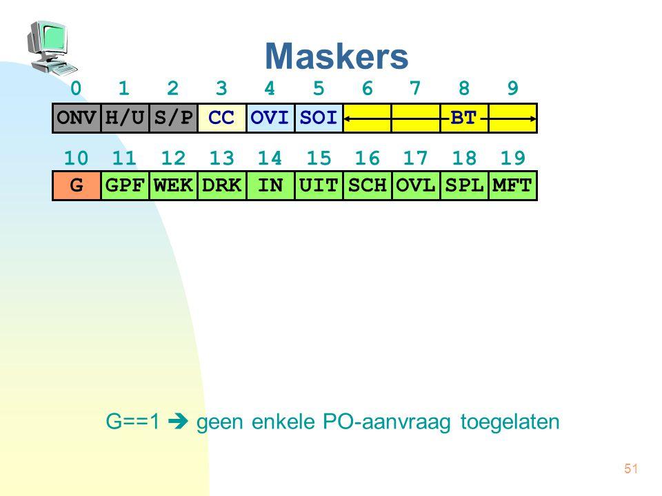 51 Maskers G==1  geen enkele PO-aanvraag toegelaten H/US/PCCONVOVISOI BT GPFWEKDRKGINUITSCHOVLSPLMFT 01234567890123456789 10111213141516171819