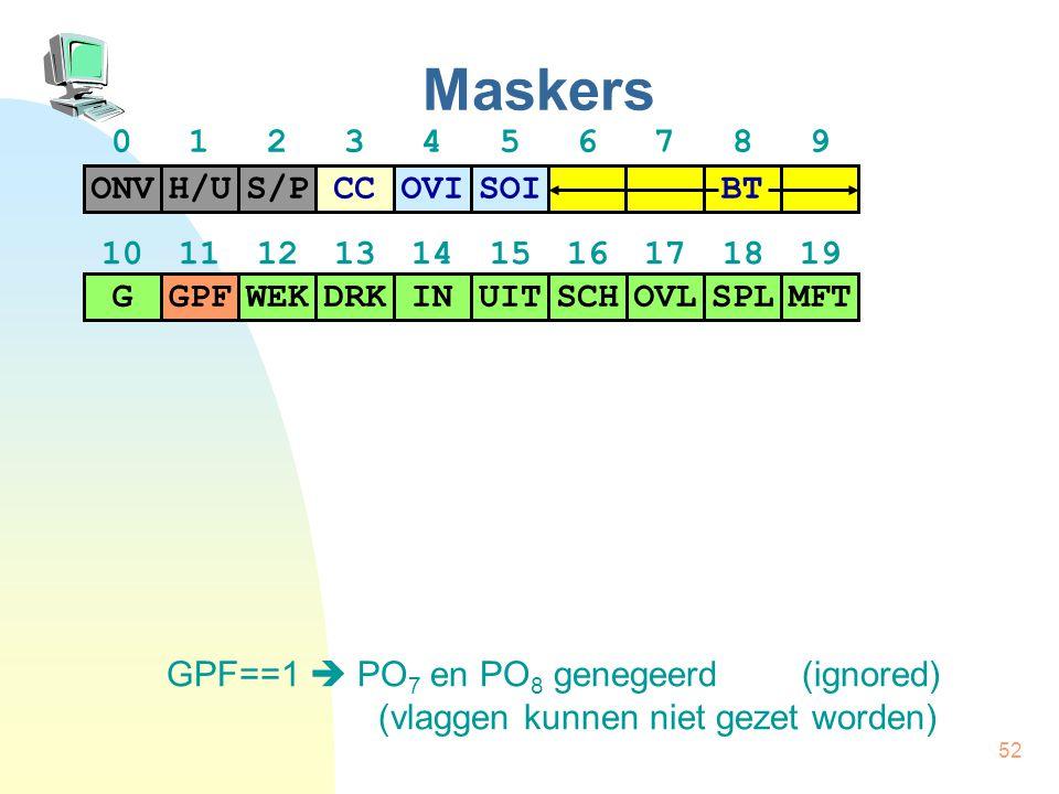 52 Maskers GPF==1  PO 7 en PO 8 genegeerd(ignored) (vlaggen kunnen niet gezet worden) H/US/PCCONVOVISOI BT GPFWEKDRKGINUITSCHOVLSPLMFT 01234567890123