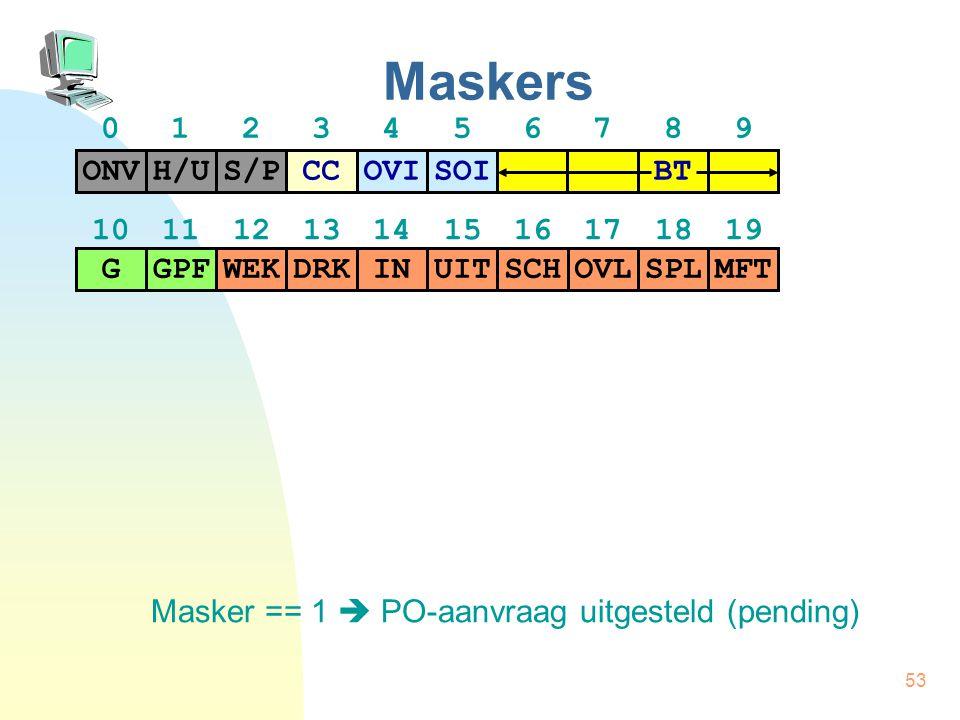 53 Maskers Masker == 1  PO-aanvraag uitgesteld(pending) H/US/PCCONVOVISOI BT GPFWEKDRKGINUITSCHOVLSPLMFT 01234567890123456789 10111213141516171819