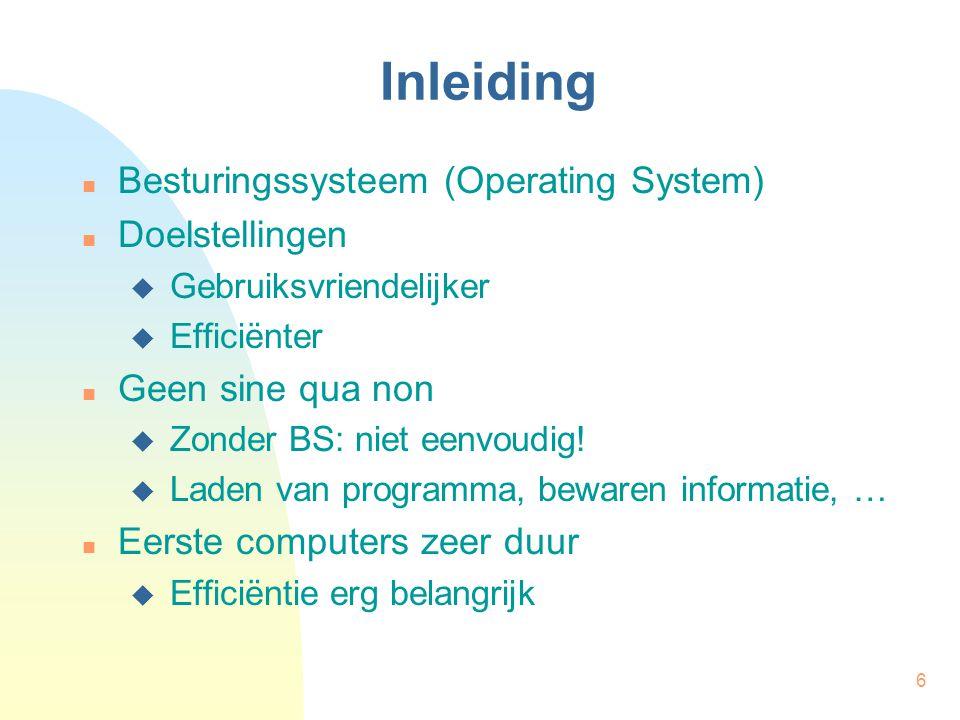 6 Inleiding Besturingssysteem (Operating System) Doelstellingen  Gebruiksvriendelijker  Efficiënter Geen sine qua non  Zonder BS: niet eenvoudig! 