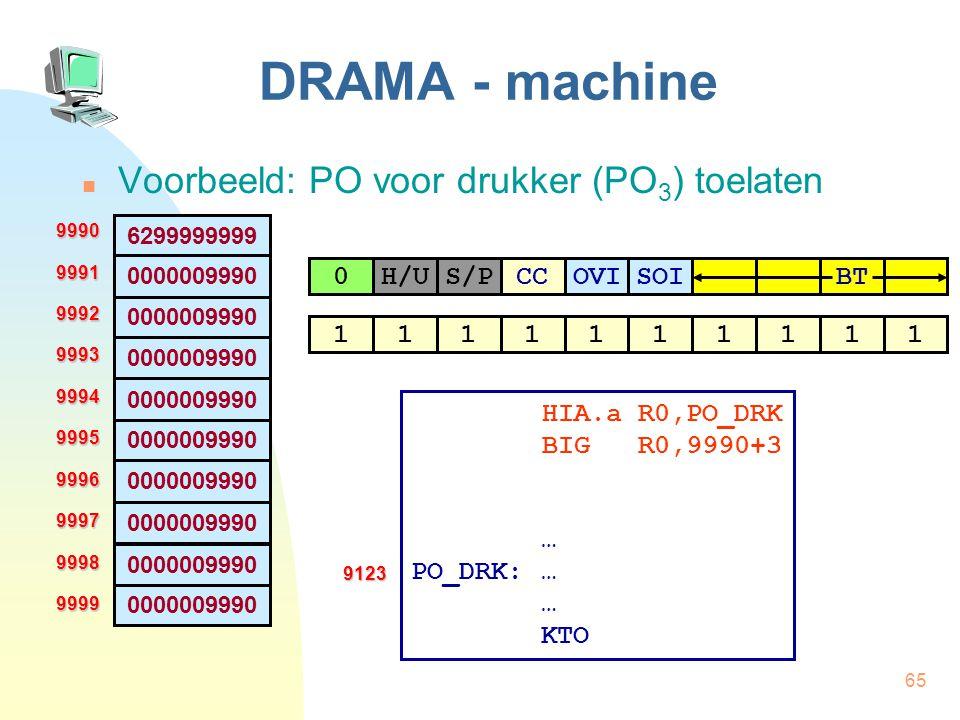 65 DRAMA - machine Voorbeeld: PO voor drukker (PO 3 ) toelaten 6299999999 0000009990 9990999199929993999499959996999799989999 H/US/PCC0OVISOI BT 11111
