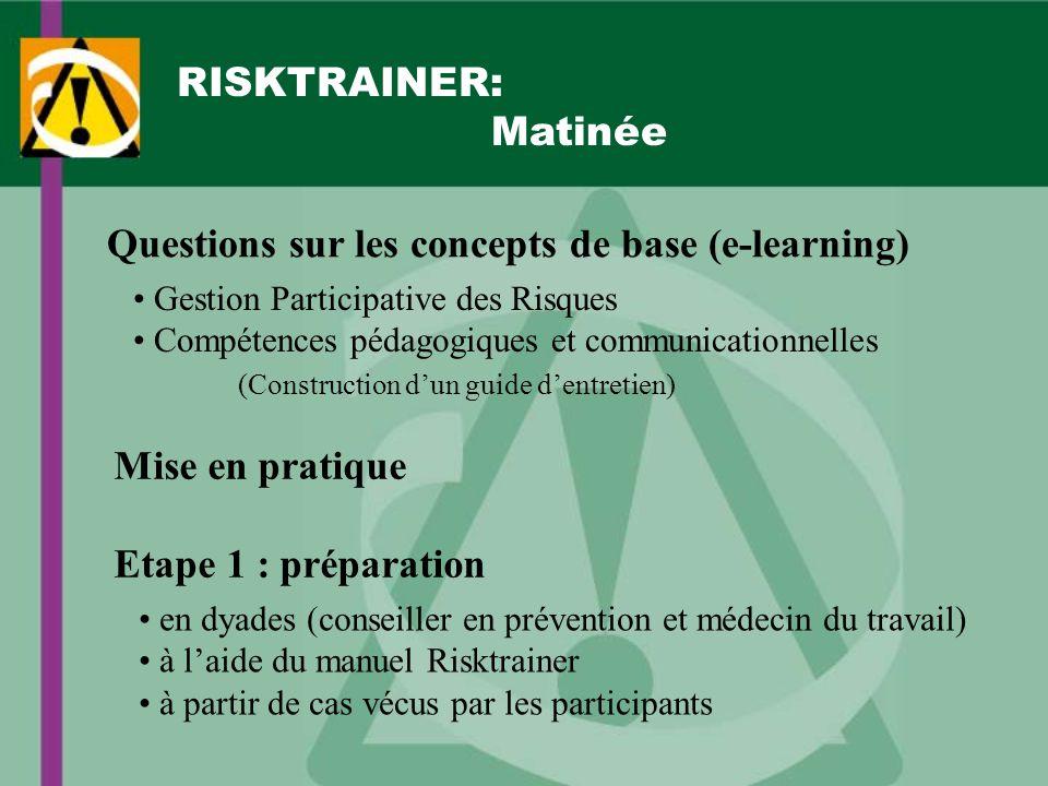 RISKTRAINER: Matinée Questions sur les concepts de base (e-learning) Gestion Participative des Risques Compétences pédagogiques et communicationnelles