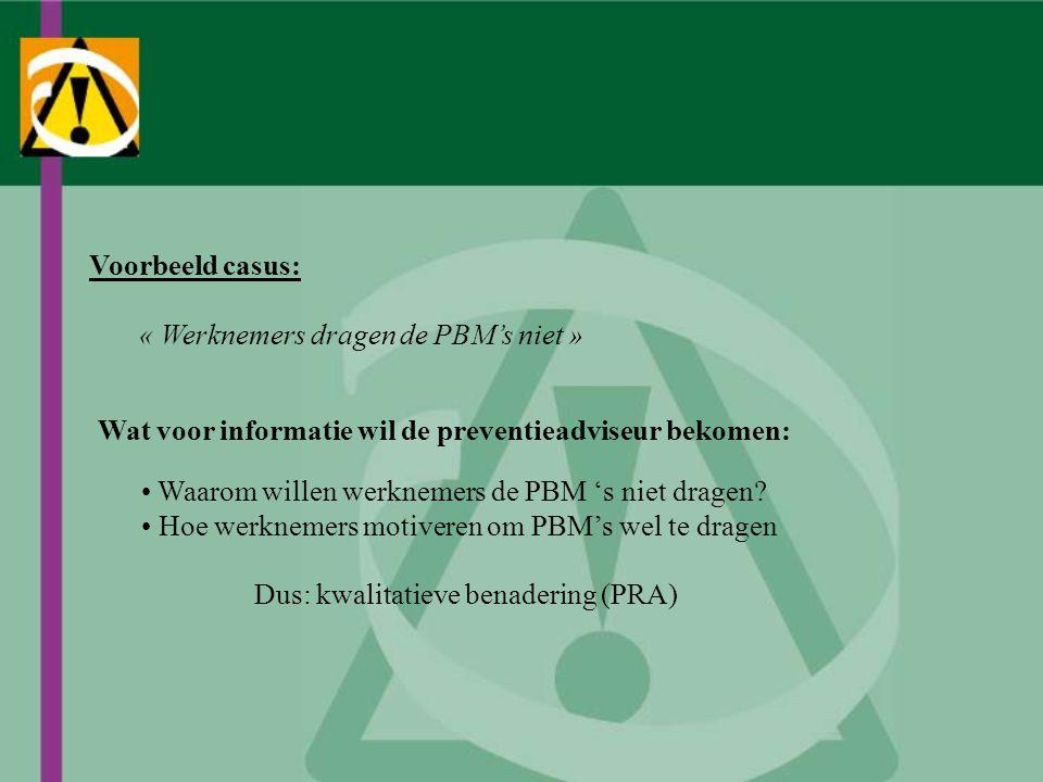 Voorbeeld casus: « Werknemers dragen de PBM's niet » Wat voor informatie wil de preventieadviseur bekomen: Waarom willen werknemers de PBM 's niet dra