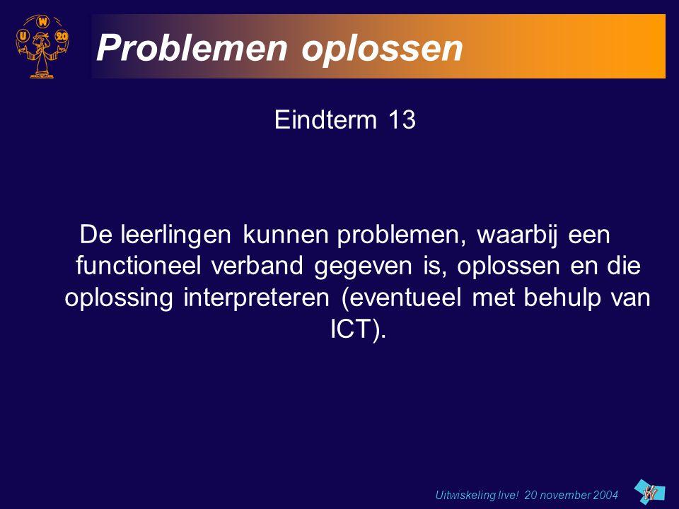 Uitwiskeling live! 20 november 2004 Problemen oplossen Eindterm 13 De leerlingen kunnen problemen, waarbij een functioneel verband gegeven is, oplosse