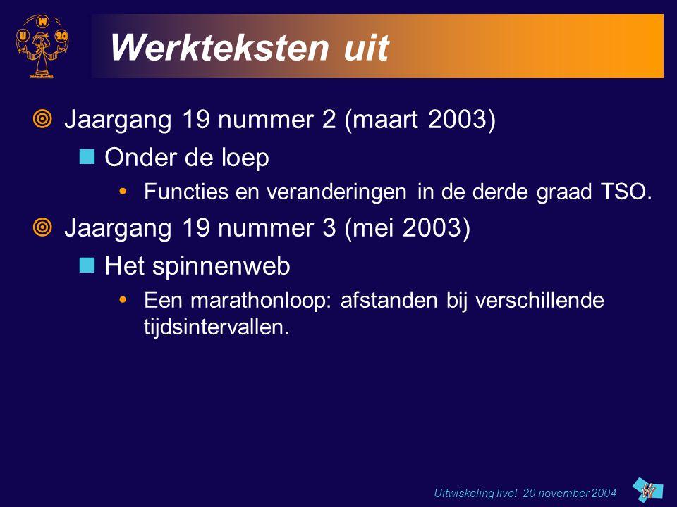 Uitwiskeling live.20 november 2004 Grafiek van  Wanneer is de oppervlakte het grootst.