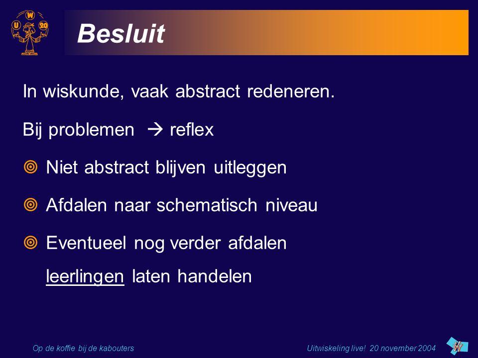 Op de koffie bij de kabouters Uitwiskeling live! 20 november 2004 Besluit In wiskunde, vaak abstract redeneren. Bij problemen  reflex  Niet abstract