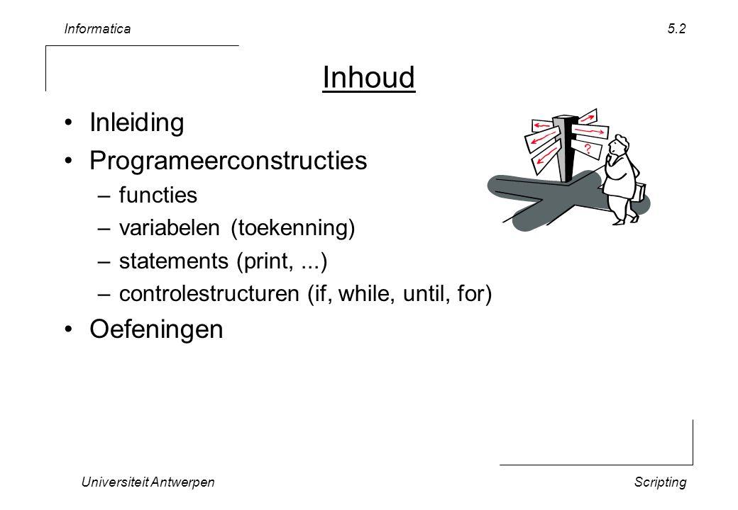 Informatica Universiteit AntwerpenScripting 5.3 Context functionzero.zip –gebruik die van vorige week –of haal via de web-site vervang in alle rekenbladen de functie sinus door cosinus –find-replace: sin(  cos( –hoeveel cellen moet je aanpassen .