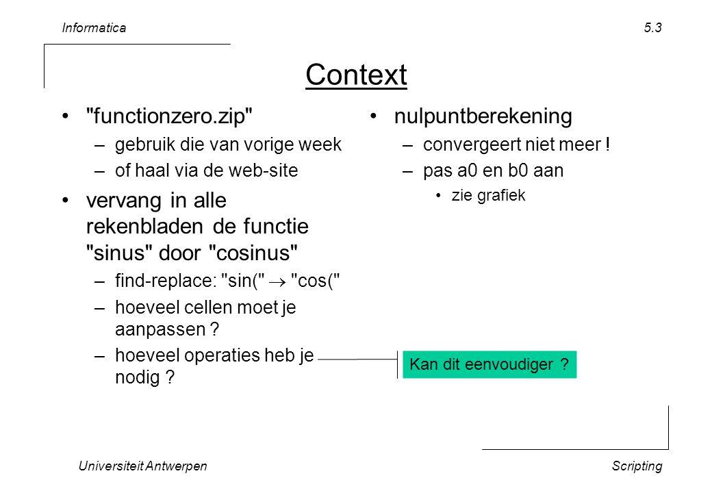 Informatica Universiteit AntwerpenScripting 5.14 Oproepen vanuit Spreadsheet Vervang in functionzero –alle IF(…=0;0;(COS(1/…))) –door datafunction(...) –bekijk grafiek en nulpunten Vervang code door voorbeeld3 –Copy/Paste vanuit VBASampleCode.txt Application.volatile –elke verandering aan rekenblad: alle oproepen datafunction herberekenen –zie Immediate window Public Function datafunction(x) a function used as input...