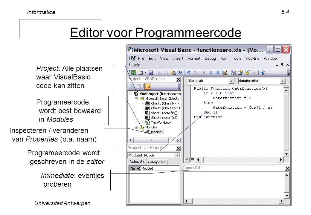 Informatica Universiteit AntwerpenScripting 5.5 Voorbereiding Open VisualBasic Editor –In Excel –>>Tools>>Macro >>Visual Basic Editor Maak Module –(1) rechtsklik op VBA Project (functionzero) –>>Insert>>Module Hernoem Module1 –nieuw naam GlobaleFuncties –(2) venster Properties 1 2