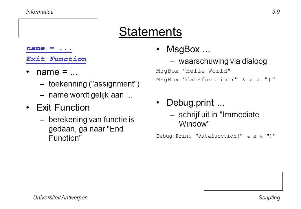 Informatica Universiteit AntwerpenScripting 5.10 Varia commentaar rem...
