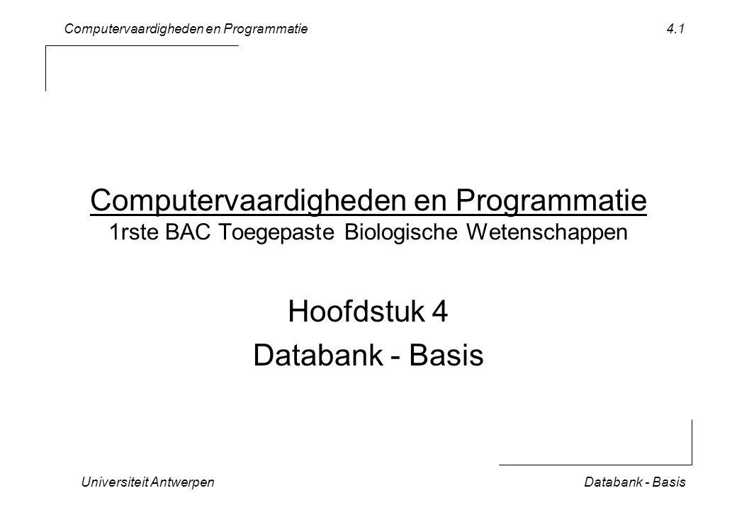 Computervaardigheden en Programmatie Universiteit AntwerpenDatabank - Basis 4.12 Query met Criteria ( 1/2 ) in Design View Criterium: –soort: baardvleermuis In Datasheet View –resultaat .