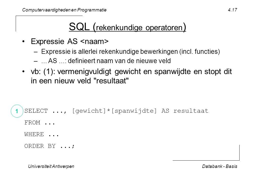 Computervaardigheden en Programmatie Universiteit AntwerpenDatabank - Basis 4.17 SQL ( rekenkundige operatoren ) Expressie AS –Expressie is allerlei rekenkundige bewerkingen (incl.